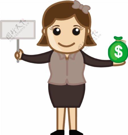 美元和标志牌标志卡通商业矢量插图