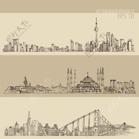 手绘城市背景矢量素材