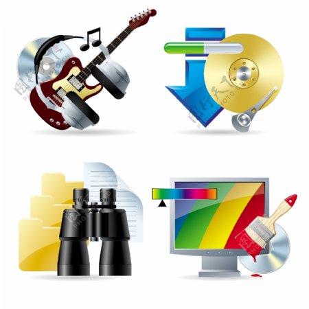 音乐下载看颜色和其他矢量图标素材