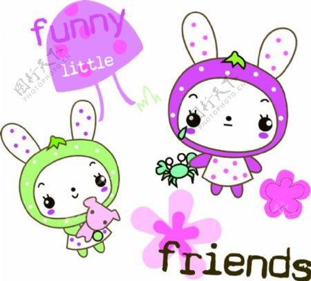 可爱卡通兔子矢量印花