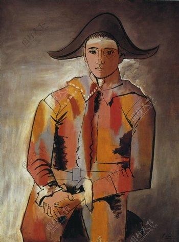 1923Arlequinlesmainscrois淇JacintoSalvado西班牙画家巴勃罗毕加索抽象油画人物人体油画装饰画