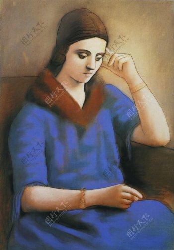 1923Olgapensive西班牙画家巴勃罗毕加索抽象油画人物人体油画装饰画
