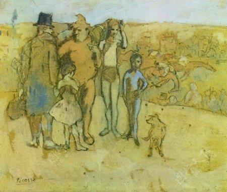1905Familledesaltimbanques鎭de西班牙画家巴勃罗毕加索抽象油画人物人体油画装饰画
