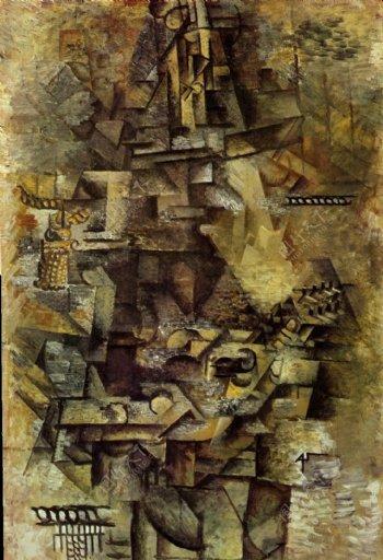 1911Lamandoliniste西班牙画家巴勃罗毕加索抽象油画人物人体油画装饰画