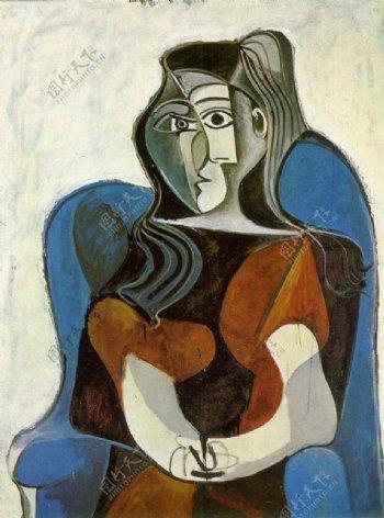 1962FemmeassisedansunfauteuilJacquelineII西班牙画家巴勃罗毕加索抽象油画人物人体油画装饰画