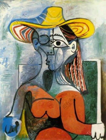 1962Bustedefemmeauchapeau西班牙画家巴勃罗毕加索抽象油画人物人体油画装饰画