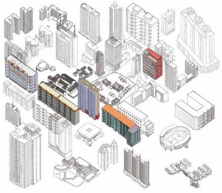 楼房建筑线稿插图