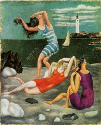 1918Lesbaigneuses西班牙画家巴勃罗毕加索抽象油画人物人体油画装饰画