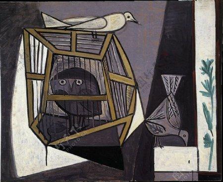 1947Cageavecchouette西班牙画家巴勃罗毕加索抽象油画人物人体油画装饰画