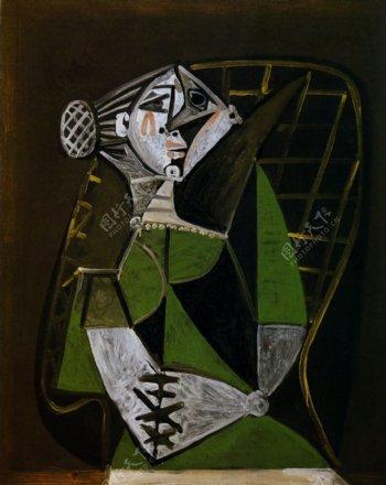 1951Femmeauchignonassise西班牙画家巴勃罗毕加索抽象油画人物人体油画装饰画
