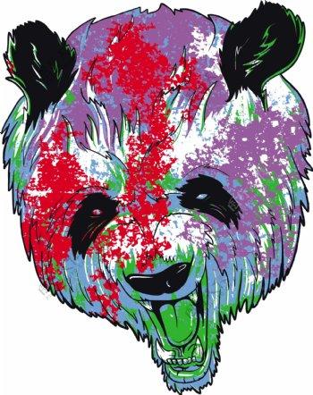 老式的向量的T恤设计的熊猫