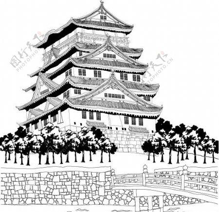 古建筑线稿图片