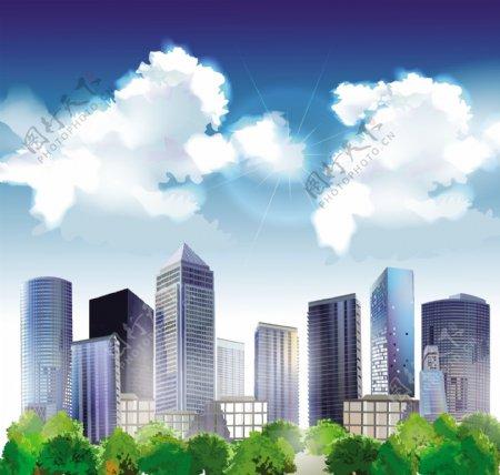 现代城市商业矢量建筑图片