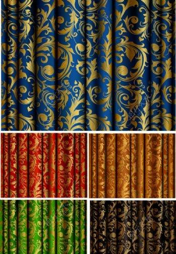 欧式花纹窗帘图片