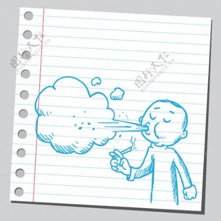 吸烟手绘画图片