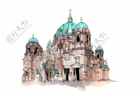 手绘著名建筑