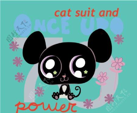卡通黑猫猫猫卡通