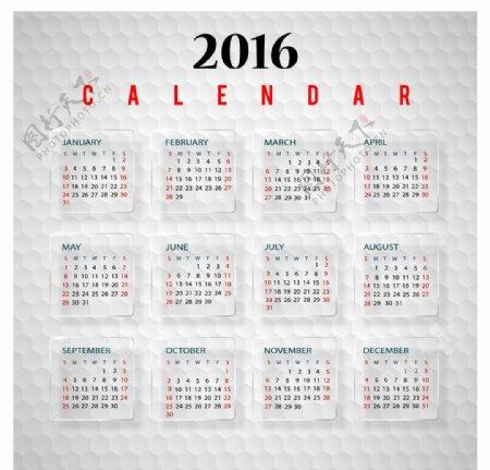 2016年日历矢量下载