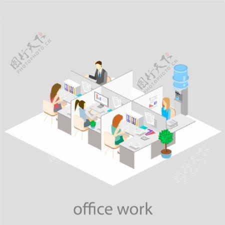 白色风格办公室设计图片