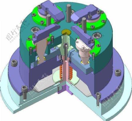 五轴铣床专用气动卡盘机械模型
