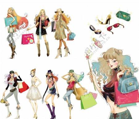 时尚购物插画人物