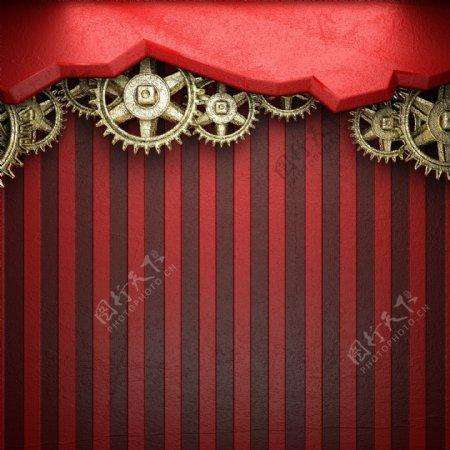 红色条纹与齿轮图片