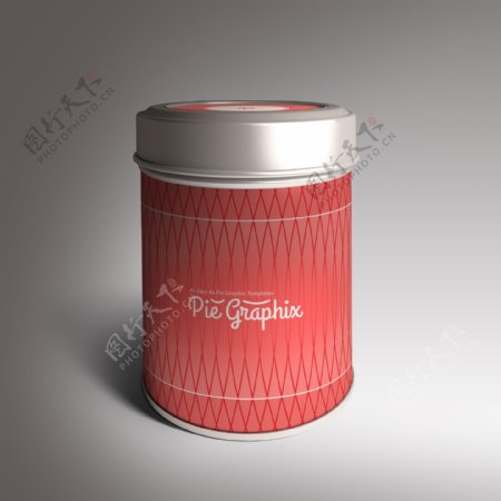 红色罐子样机