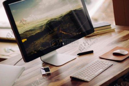 苹果iphone书桌iMac电脑工作屏幕工作空间MAC