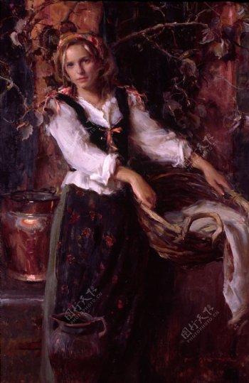 提着竹筐的古代欧洲美女油画图片