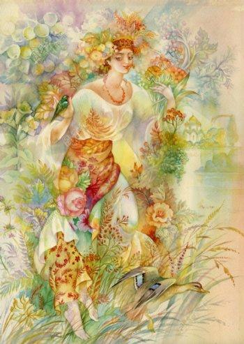 草丛中的野鸭和古代欧洲美女插画图片