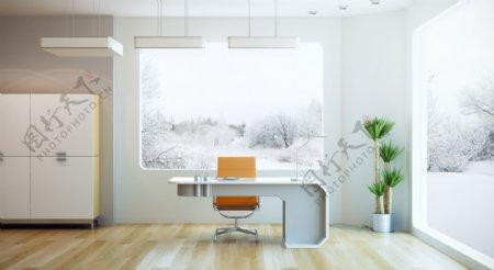 白色简约办公室设计图片