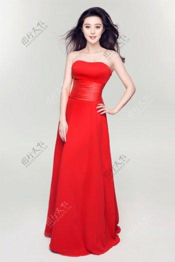 红裙美女范冰冰图片