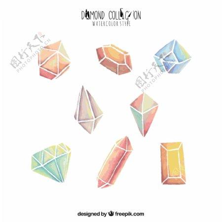 收集水彩钻石