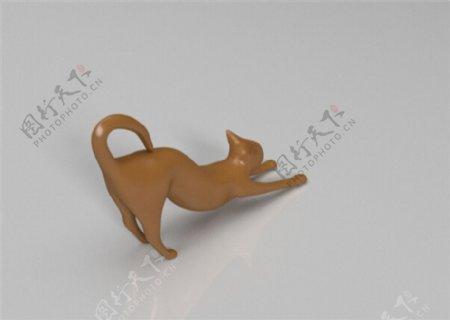 伸懒腰的猫3D打印模型