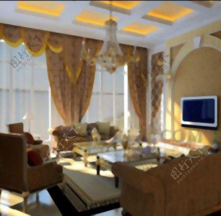 欧洲风格的金色客厅主题