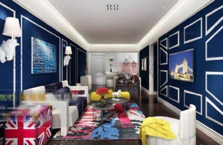 客厅空间摆设3D模型素材max