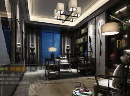 欧式书房空间3D模型素材
