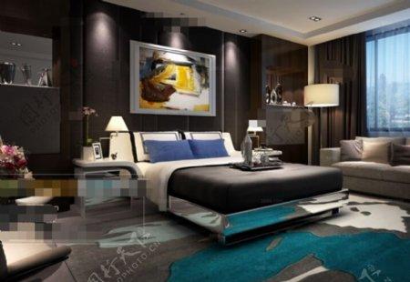 卧室空间布局3D模型素材免费下载
