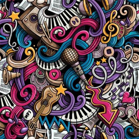 彩色卡通乐器背景图片