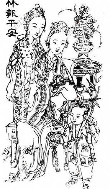 清代下版画装饰画中华图案五千年矢量AI格式1056