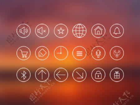 白色线条矢量Icons图标