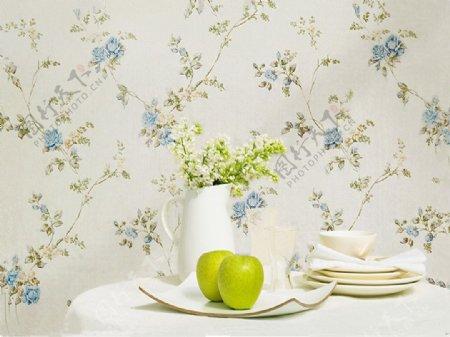 田园风格墙面壁纸蓝玫瑰碎花效果