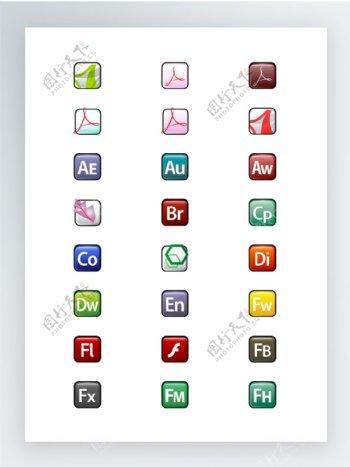 Adobe家族产品标志图标集
