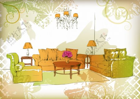 手绘家居客厅插画