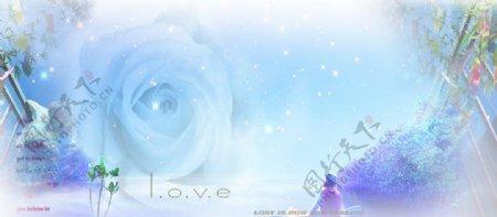蓝玫瑰炫彩杯子图