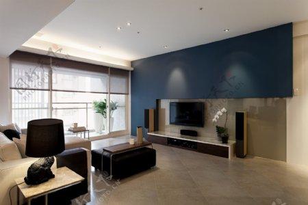 现代客厅蓝色背景墙室内装修JPEG效果图
