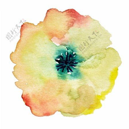 七彩水墨花卉卡通透明素材