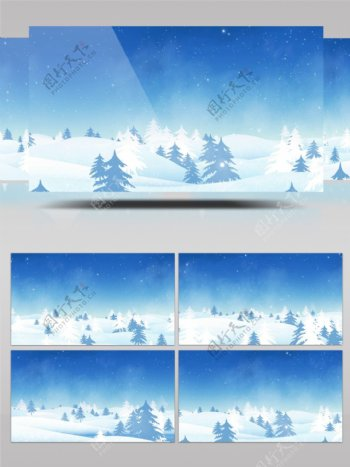 冬天雪地雪景飘雪森林led背景视频
