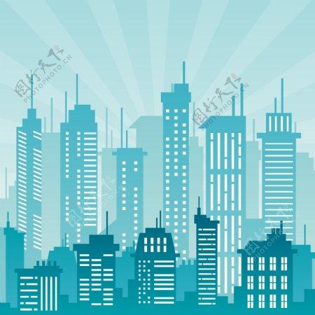 蓝色矢量城市背景素材