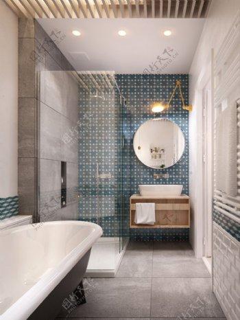 现代简约卫生间蓝色背景墙室内装修效果图